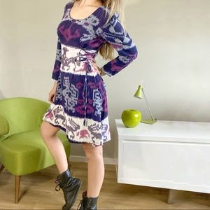 Boho purple tribal long sleeve skater skirt dress
